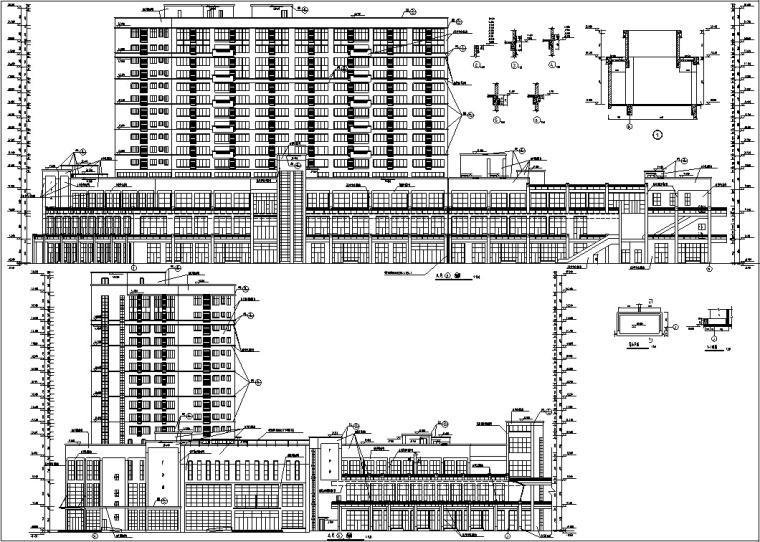 3套商住综合楼建筑设计施工图CAD-黄金海岸商住综合楼立面图2