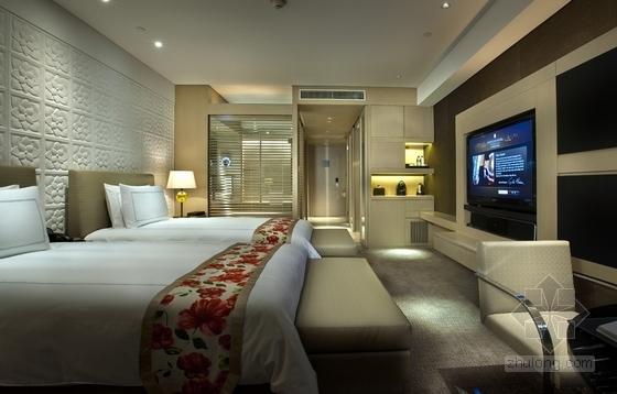 [上海]高级五星级豪华酒店客房室内装修施工图(含效果)双床房效果图