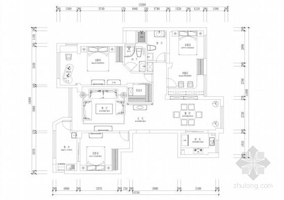 精品豪华简欧风格三居室室内装修施工图(含高清效果图 推荐!)