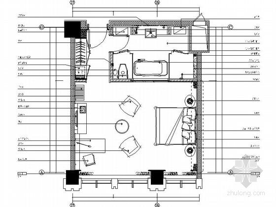 [辽宁]现代化工业园办公楼标准客房单人床装修施工图