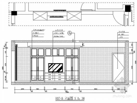 [绍兴]黄金地带时尚现代跃层公寓装修设计施工图主卧立面图