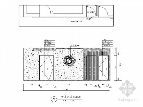 [广州]花园住宅简欧三居室样板房装修图(含效果)玄关走道立面图