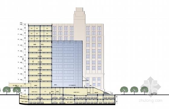 [上海]55米现代古典风格科研中心建筑设计方案文本(含CAD方案图)-55米现代古典风格科研中心建筑剖面图