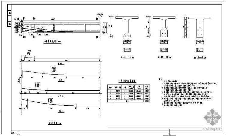 某25米T梁中梁预应力钢束节点构造详图