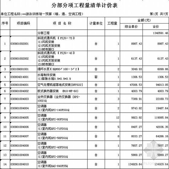 深圳某游泳训练馆电气、给排水、暖通清单报价(2007)