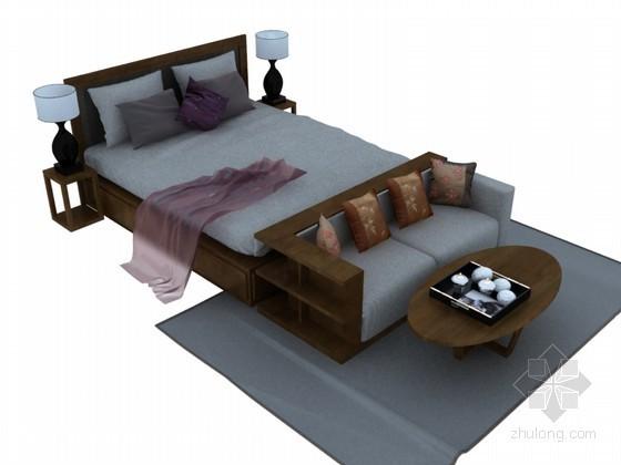 现代中式床3D模型下载