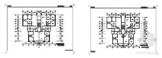 一梯四户的多层L型户型平面图