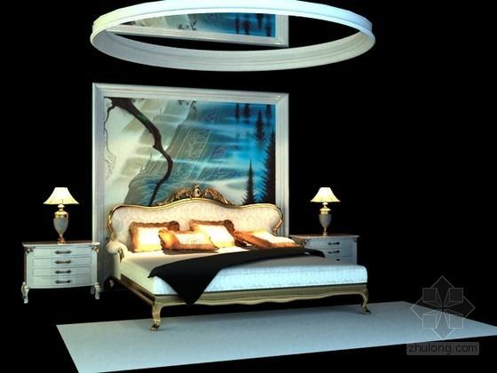 欧式床3d模型下载