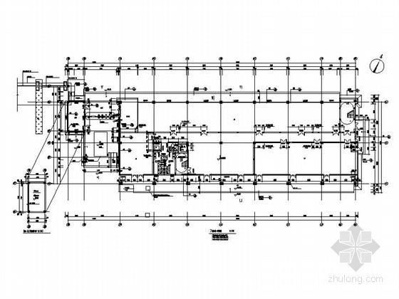 [湖北]物流港多层办公楼建筑施工图-多层不上人屋面办公楼建筑首层平面图