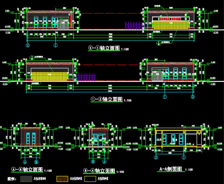 某中学学校大门建筑结构设计图