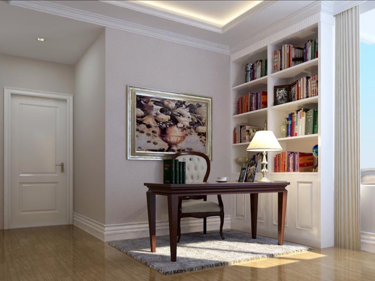 欧式书房模型资料下载-简约欧式书房3D模型下载