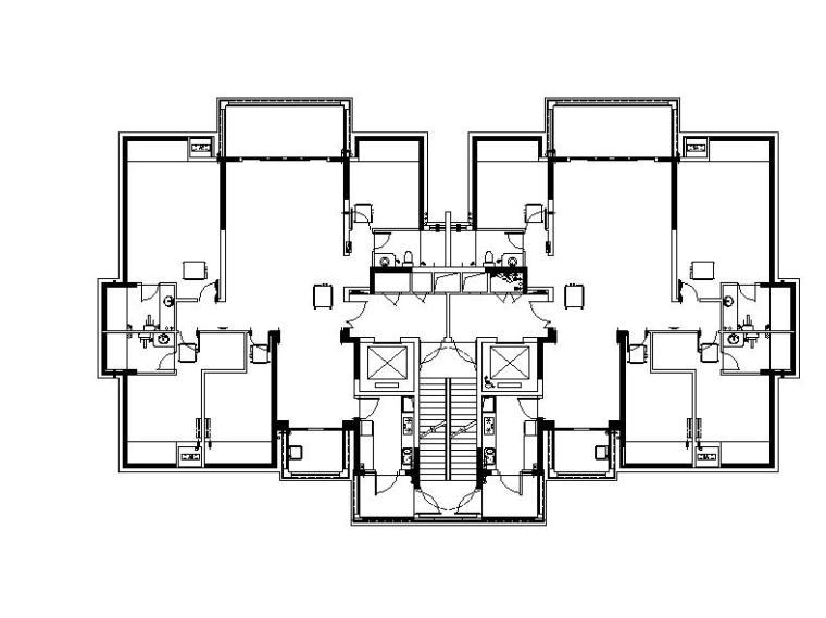 [广西]多套套高层塔式住宅楼建筑户型图(含商业会所)