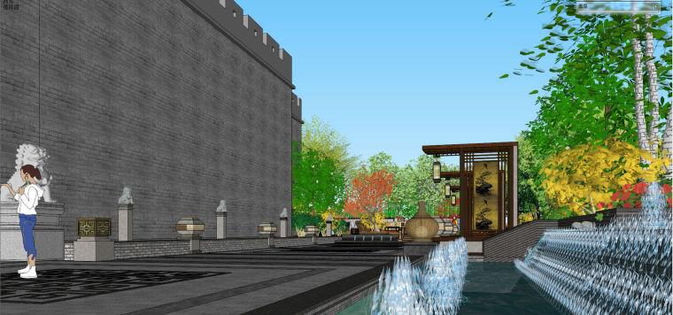 江山门最终SU中式景观怡人居住设计-J5