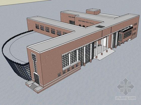 学校建筑SketchUp模型下载-学校建筑