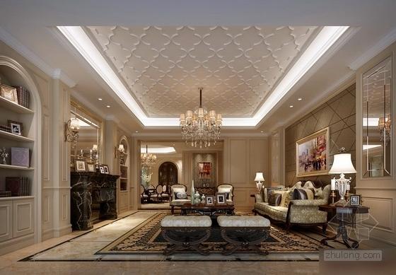 城市中心欧式风格六居室样板房装修图(含效果)客厅效果图