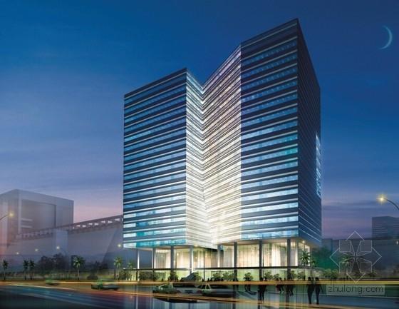 [深圳]裂口磐石造型高层科技大厦建筑设计方案文本-裂口磐石造型高层科技大厦建筑效果图