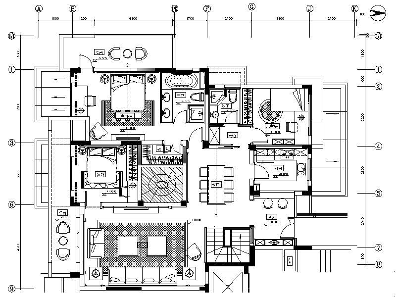 [青岛]某别墅全套室内装修设计施工图图片
