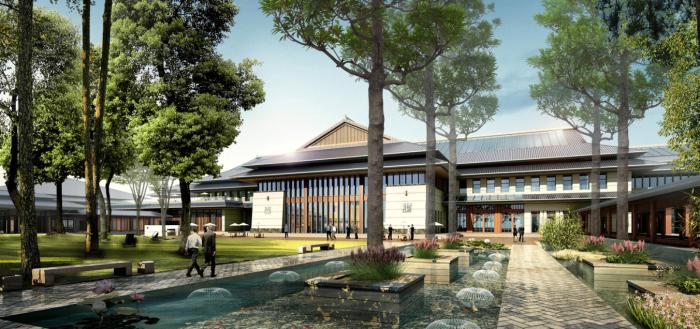 [上海]生态农业旅游庄园景观规划设计方案-接待中心庭院效果图