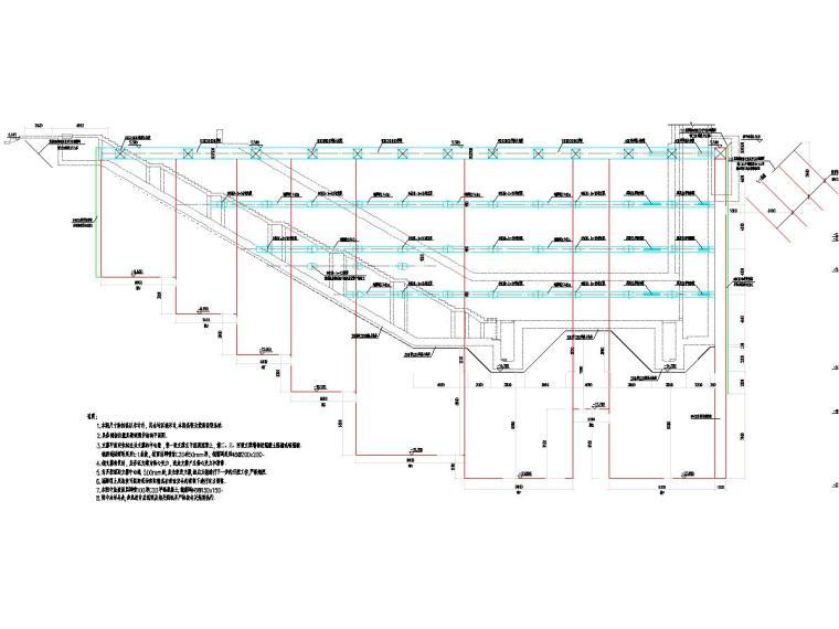 复杂地质条件20米深基坑开挖支护及降水施工图(咬合桩加内支撑)-基坑围护结构剖面图