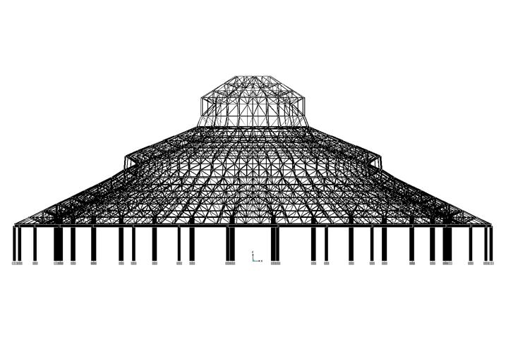 V型滤池平面剖面图资料下载-99米跨网壳结构设计汇报