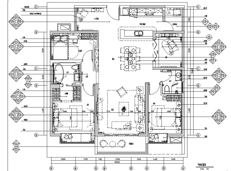 (全套含实景图)超详细简欧三居室样板间装修施工图