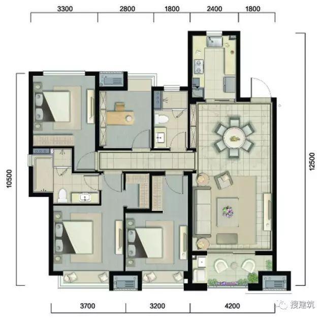 万科94㎡、104㎡、117㎡不同面积、一样的3房2厅2卫户型!_5