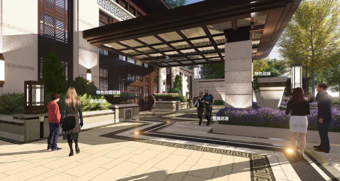 [江西]新中式东方盛唐帝景深宅庭院景观规划设计方案-内庭设计效果图