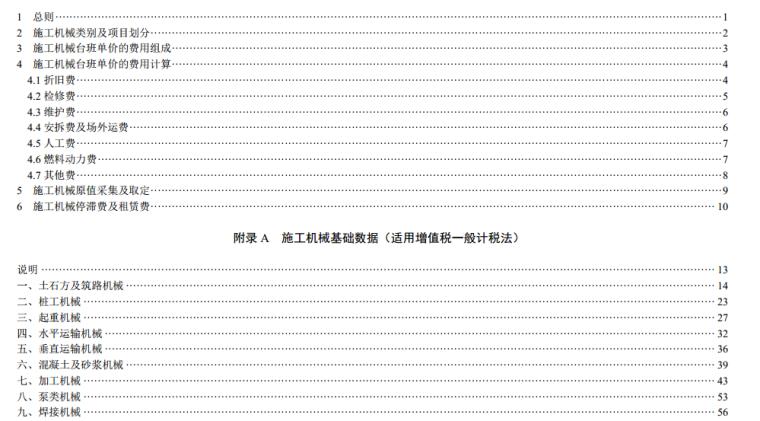 最新2016版山东省建设工程施工机械台班费用