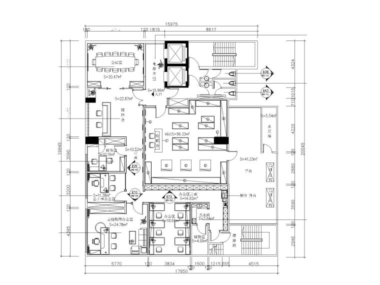 现代简约风格办公空间室内装修全套施工图(附效果图)