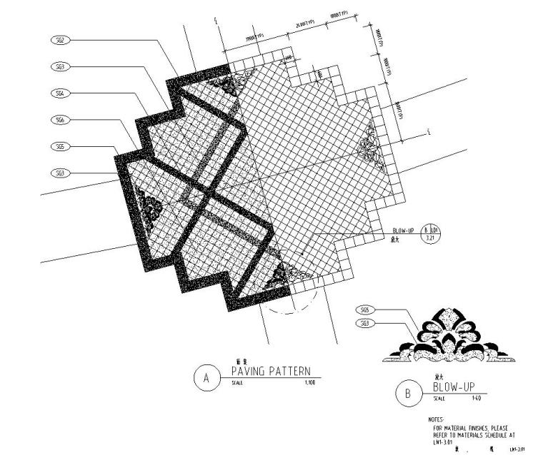 [四川]成都知名地产名城某居住区景观设计全套施工图(包含+植物配置)-铺装设计