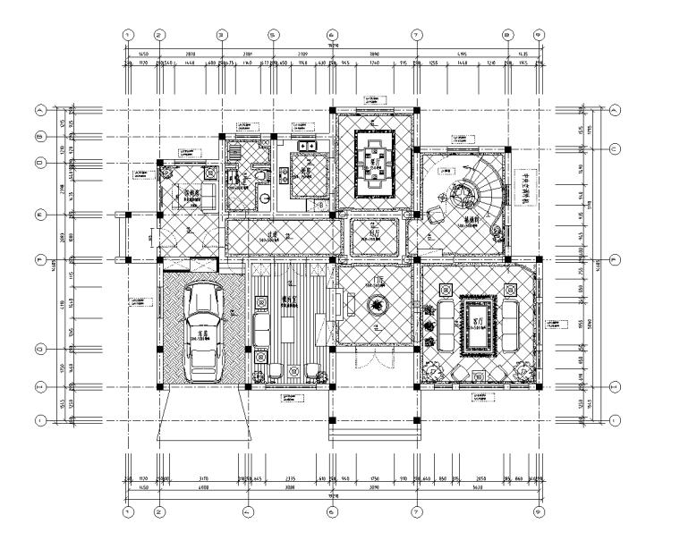 [河南]某中式风格别墅室内设计施工图