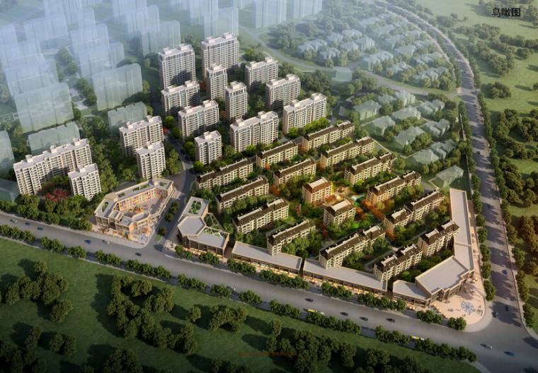 [江西]大型简欧式风格住宅区带商铺建筑方案文本