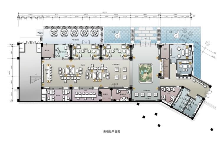 [重庆]现代风格售楼处概念方案设计施工图(附效果图+物料表)-平面图