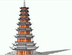 中式风格古塔设计sketchup模型