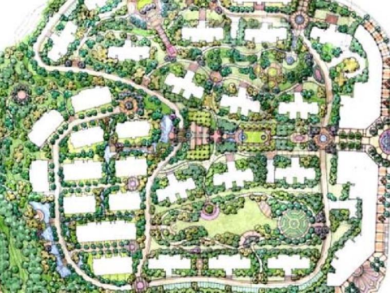 [重庆]鹏润蓝海居住区景观概念方案设计(新古典风格,休闲大气)