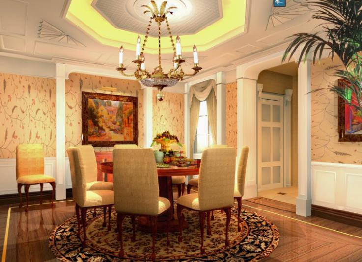 上海歐式三層莊園別墅室內設計施工圖(含效果圖)