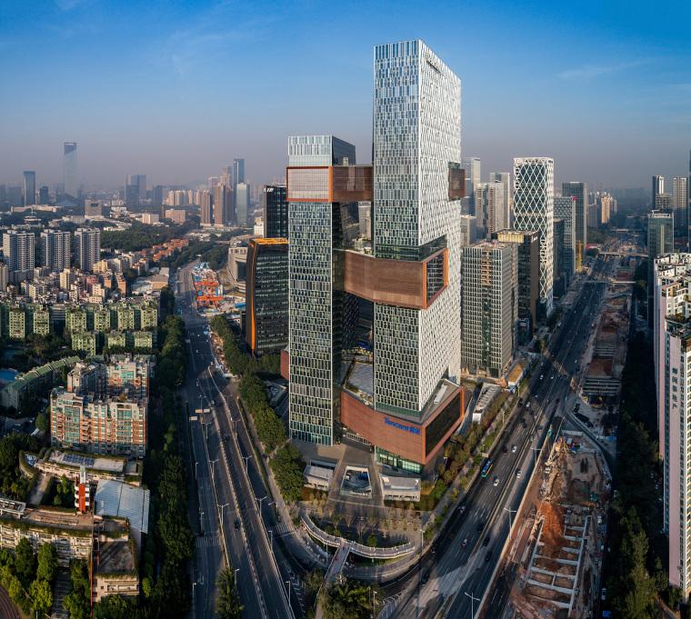 深圳连接高效的腾讯新总部外部实景图