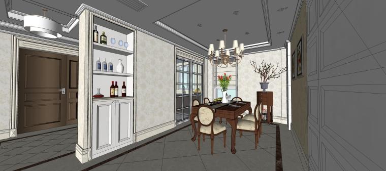 室内设计简欧风格客餐厅SU模型-11.餐厅