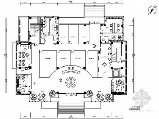 [四川]七层大气汽车运输办公空间室内设计CAD施工图