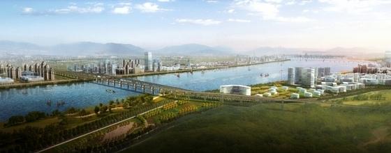 沿江生态宜居城市规划鸟瞰图