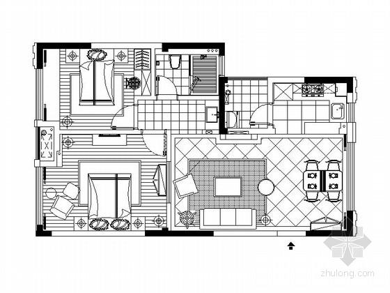 [杭州]两居室精品楼盘样板房室内装修施工图(含效果图)
