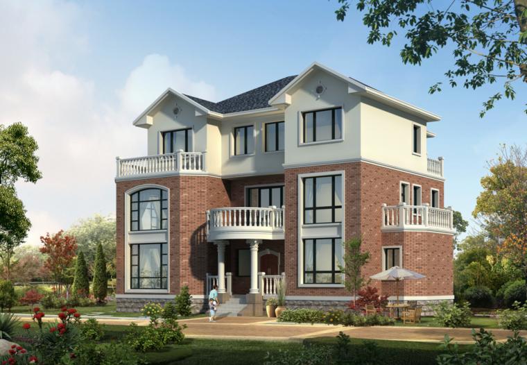 欧式坡屋面3层独栋别墅建筑设计施工图(含全套CAD图纸)