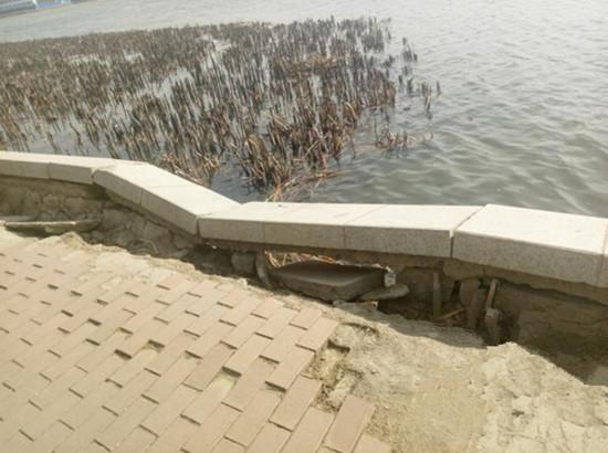 长春南湖公园部分岸堤出现塌陷,园方称冬季冻胀所致!