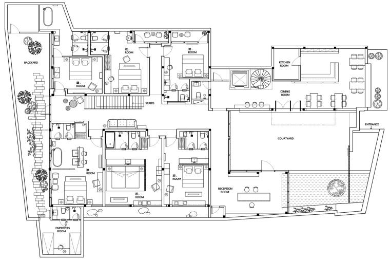 上海原招待所改造的新中式渝舍印象酒店平面图(23)