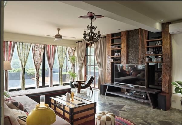 成都别墅装修 自然质朴原木风 给人一种敞亮时尚的感觉