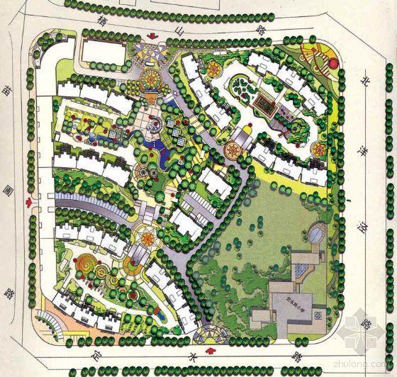 居住区景观设计方案平面图及鸟瞰图