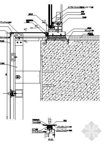 U型铝方通吊顶节点大样图资料下载-铝合金窗下端节点图