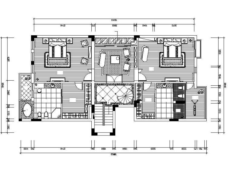 [深圳]超豪华简欧4层别墅室内设计施工图(含效果图)