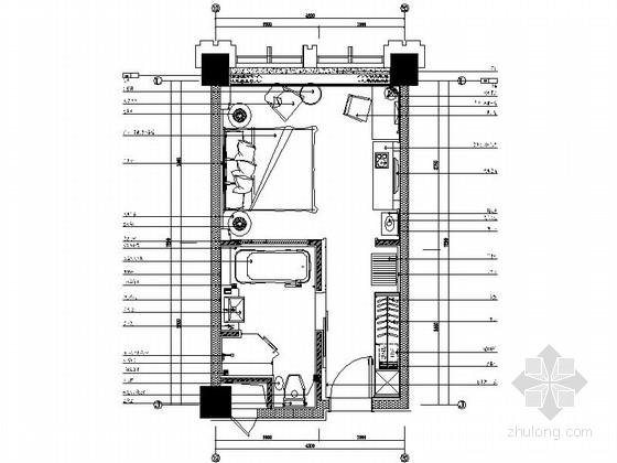 [辽宁]国企办公楼标准层单人房装修施工图