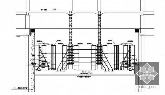 [江苏]逆作法地铁双柱三跨框架车站施工组织设计166页(高压旋喷桩复合挡土墙)-框架柱混凝土浇筑示意图